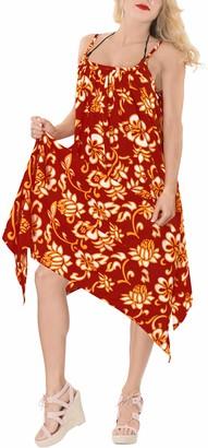 LA LEELA Ladies Printed Beach Wraps and Cover ups Women's Bohemia Beach Dress Short Sleeves Boho Swimwear for Holiday Beachwear Bikini Loose Bathing Suit Blood Red_K276