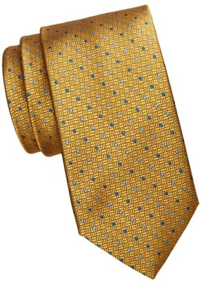 Saks Fifth Avenue Dotted Grid Silk Tie