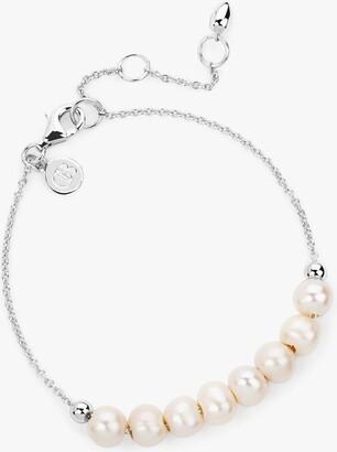 Claudia Bradby Freshwater Pearl Chain Bracelet, Silver/White