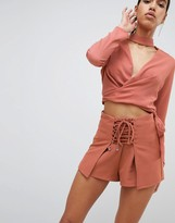 Parallel Lines Wrap Front Shorts With Corset Detail Two-Piece