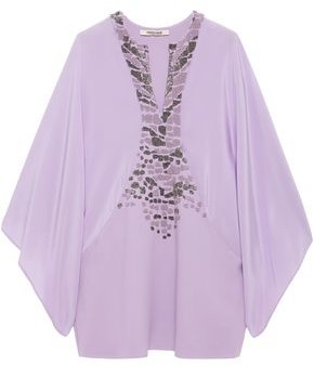 Roberto Cavalli Bead-embellished Crepe And Crepe De Chine Top