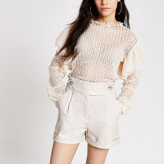 River Island Cream lace long sleeve frill shoulder top