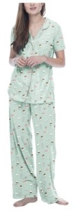 Munki Munki Women's Coffee Short Sleeve Classic Pajama Set