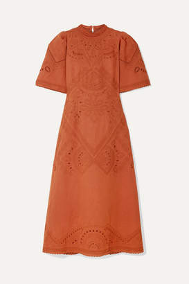 Sea Agatha Broderie Anglaise Linen And Cotton-blend Midi Dress - Orange