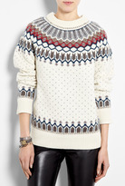 Paul by Paul Smith White Intarsia Wool Oversized Jumper