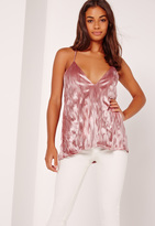 Missguided Pleated Velvet Cross Back Cami Pink