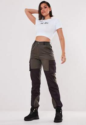 Missguided Gray Cargo Twill Colour Block Knee Trousers
