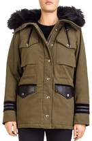 The Kooples Faux-Fur-Trimmed Twill Parka