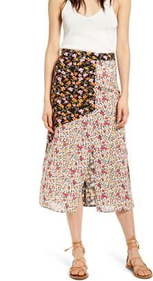 Know One Cares Mixed Floral Print Midi Skirt