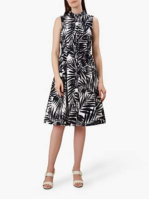 Hobbs Clarence Leaf Print Belt Detail Dress, Navy/White