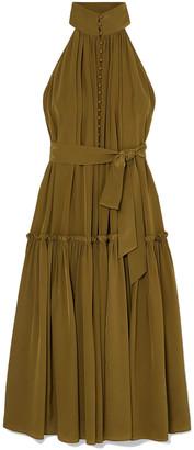 Zimmermann Belted Ruffle-trimmed Leopard-print Silk Crepe De Chine Midi Dress