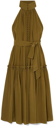 Zimmermann Silk Swing Gathered Silk Crepe De Chine Midi Dress