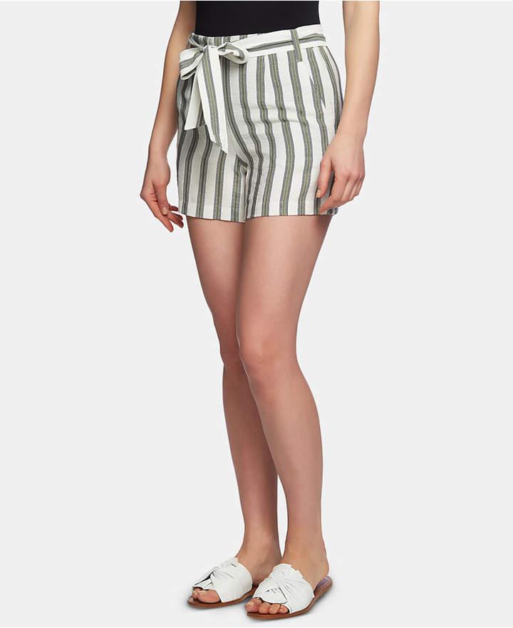 1.state Regancy Striped Flat-Front Tie-Waist Shorts