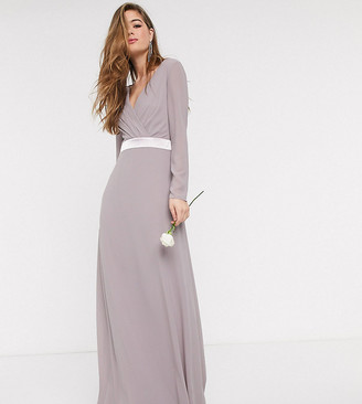 TFNC Tall Tall Bridesmaids long sleeve bow back maxi dress dress in grey