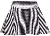 Jay Ahr Pleated Striped Laser-Cut Cotton-Canvas Mini Skirt