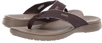 Crocs Santa Cruz Canvas Flip (Black/Slate Grey) Men's Sandals