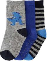 Joe Fresh Toddler Boys' 3 Pack Crew Socks, Grey (Size 3-5)
