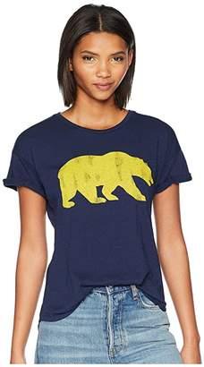 Original Retro Brand The Cal Bear Slub Crew Neck Rolled Short Sleeve Tee (Navy) Women's T Shirt