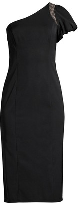 Aidan Mattox One-Shoulder Beaded Midi Dress