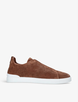 Ermenegildo Zegna Triple Stitch suede low-top trainers
