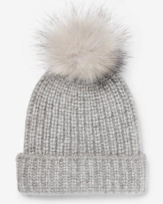 Express Ribbed Knit Pom Beanie