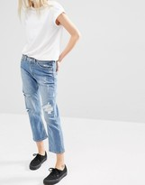 Cheap Monday Mid Rise Straight Cropped Jeans With Distressing