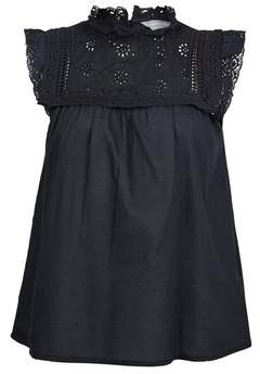 Dorothy Perkins Womens Petite Black Broderie Frill Cotton Top, Black
