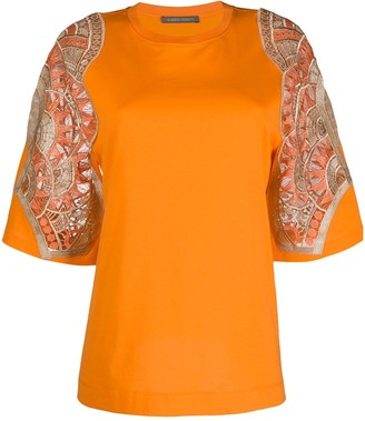 Alberta Ferretti embroidered sleeves T-shirt