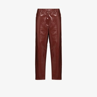 Tibi Faux Patent Leather Cropped Trousers