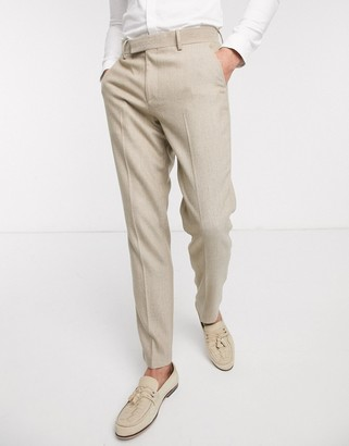 ASOS DESIGN wedding slim suit pants in wool mix herringbone in camel