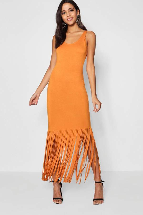 boohoo Ava Tassel Sleeveless Maxi Dress