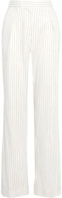 Rebecca Vallance Tate Pleated Pinstriped Linen-blend Wide-leg Pants