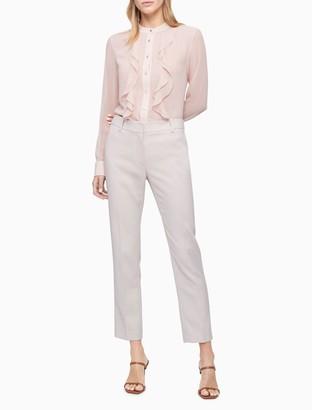 Calvin Klein Ruffled Chiffon Long Sleeve Top