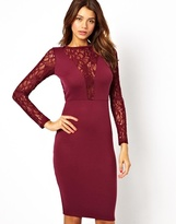 Asos Sequin and Lace Midi Body-Conscious Dress - Berry