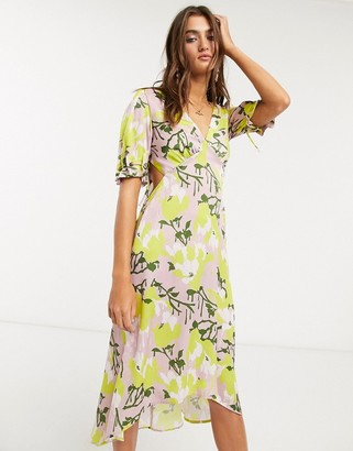 Topshop IDOL midi dress with cut out detail in yellow floral print