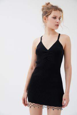 Urban Outfitters Merry Beaded Jumper Mini Dress - black XS at