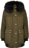 River Island Womens Khaki green hooded parka coat