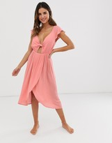 Fashion Union cut out wrap beach dress in peach