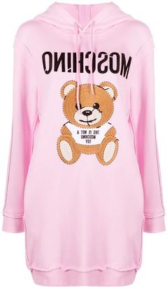 Moschino Teddy Bear embroidery hoodie dress