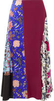 Diane von Furstenberg Asymmetric Printed Paneled Silk Crepe De Chine Skirt - Burgundy