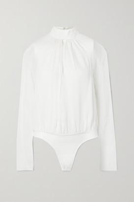 Fleur Du Mal Cutout Silk-chiffon And Stretch-tulle Turtleneck Thong Bodysuit - Ivory