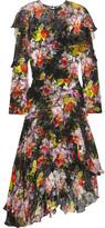 Preen by Thornton Bregazzi Cassidy Asymmetric Printed Devoré Silk-chiffon Dress - Black
