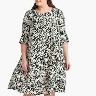 Castaluna Plus Size Zebra Print Flared Dress