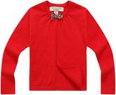 Richie House Girls' Open Cardigan with Bow RH0637-C