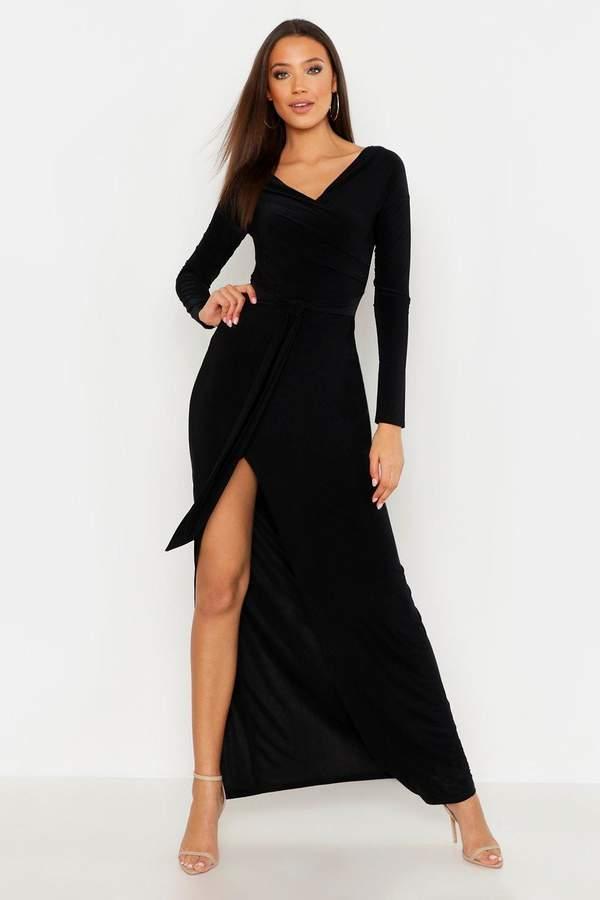 boohoo Tall Off The Shoulder Slinky Maxi Dress