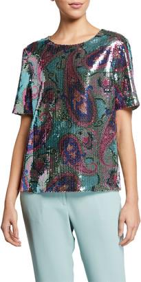 Etro Pastel Sequined Short-Sleeve Top