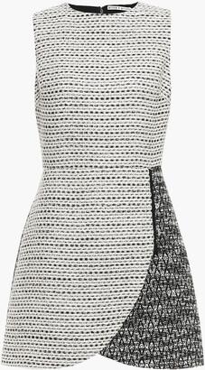 Alice + Olivia Sally Zip-detailed Paneled Boucle-tweed Mini Dress