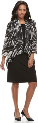 Nina Leonard Women's Sheath Dress & Printed Cardigan Set