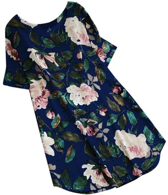 DEELIN Fashion Autumn Women Linen Floral Print Summer Party Long Sleeve Dress Plus Size Mini Dress(Short-Blue 5XL)