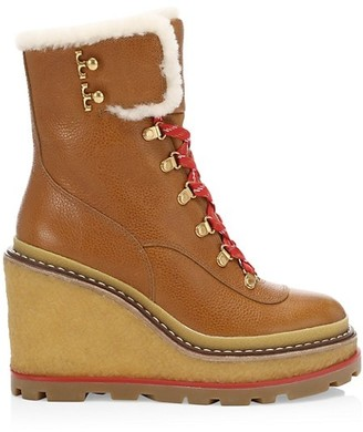 Tory Burch Hiker Shearling-Lined Leather Platform Wedge Boots